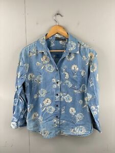 Liz wear Women's Vintage Long Sleeve Button Up Floral Denim Shirt Size 10 Blue