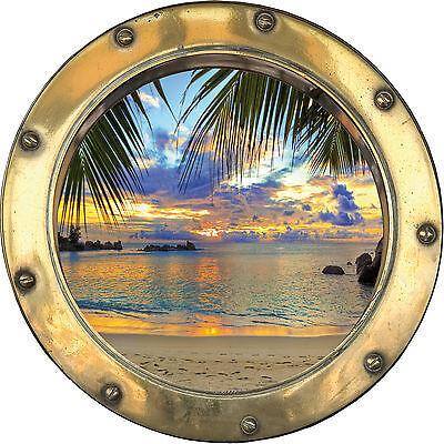 Sticker trompe l/'oeil  Vue sur mer réf:hublot H328