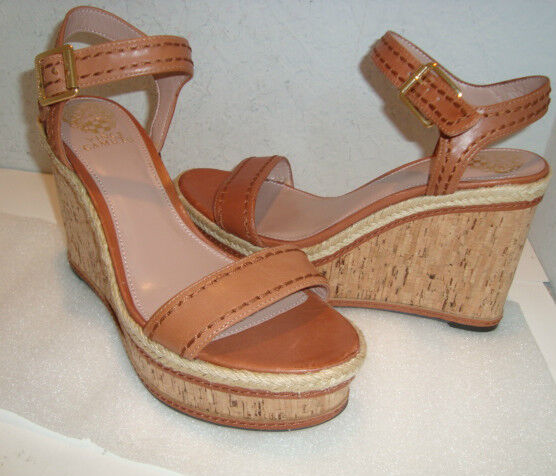 Vince Camuto Donna NWOB Sebba Brown 9.5 Ankle Wedge Sandals Shoes 9.5 Brown Medium NEW cc40c6