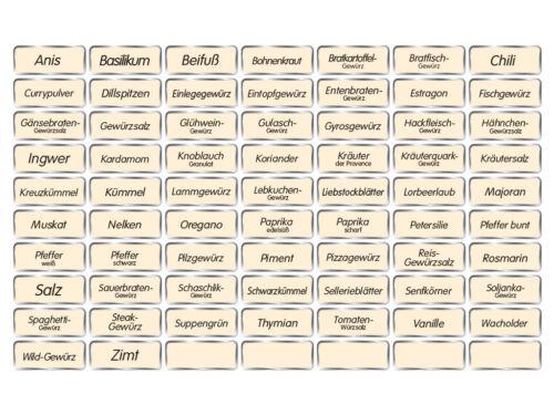 etiquetas negra de fuente especias pegatinas 70 gewürzetiketten arena color