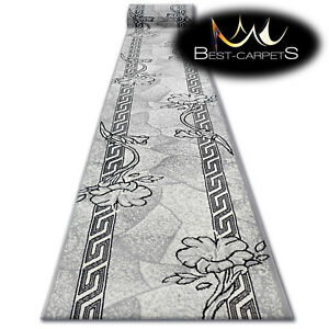 Modern-Hall-Carpet-Runner-BCF-BASE-grey-FLORAL-Stairs-60-150cm-extra-long-RUGS
