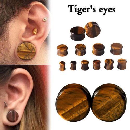 PAIR Organic Stone Ear Flesh Tunnel Plugs Ear Gauge Saddle Double Flare 6mm-16mm