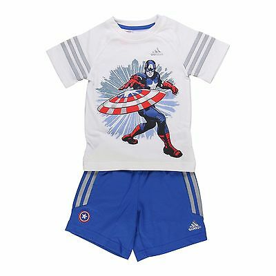 Boys Adidas Captain America T-Shirt And Shorts Set Kids Marvel Age 6-7 Years
