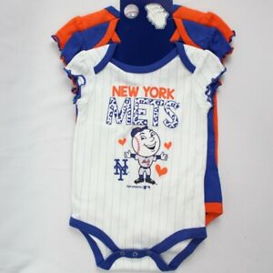 sale retailer b771c f46fc Details about New York Mets 3 Piece Creeper Set Baby Girl One Piece Body  Suits 0 to 3 Months