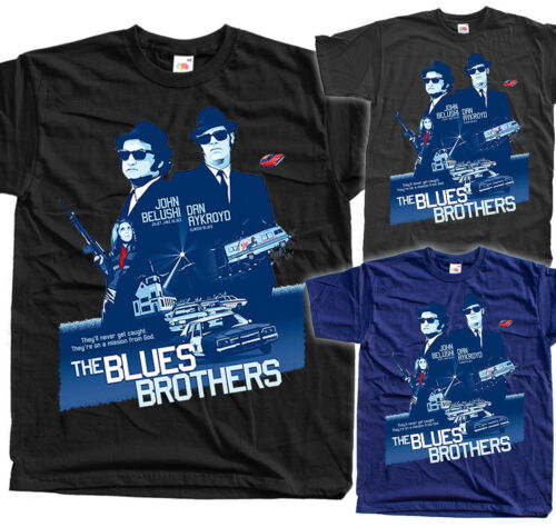 The Blues Brothers poster 1980 T SHIRT BLACK GRAPHITE NAVY all sizes S to 5XL