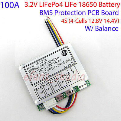 4S 100A 12.8V w//balance LiFePo4 LiFe 18650battery cell BMS protection PCB bo  HK