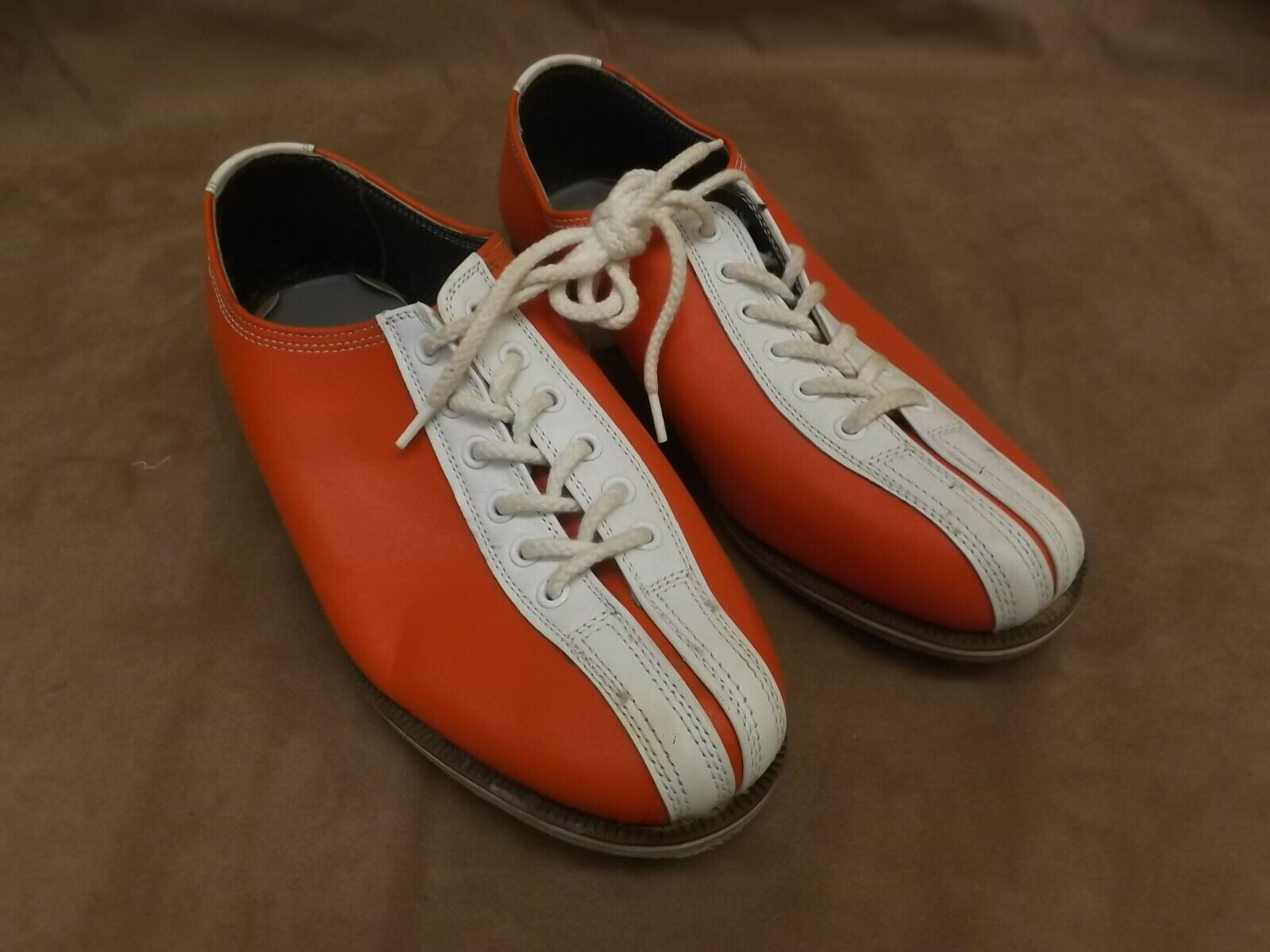 VTG NEW Santa orange White Leather Soles & Uppers Rental Bowling shoes Mens 6.5