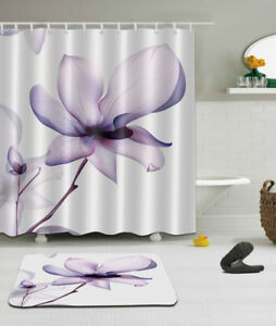 Image Is Loading 72x72 039 Purple Lotus Bathroom Waterproof Fabric