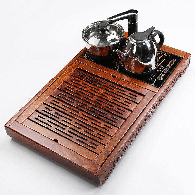 Unique Thé Plateau palissandre Table à thé avec induction COOKER DRAINAGE Thé bateau Pan