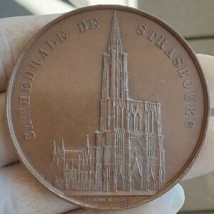 RARE ARCHITECTURE MEDAL BY WIENER -CATHEDRAL STRASBOURG 1861