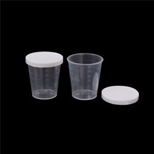 10x-30ml-Plastic-Lab-Test-Liquid-Measuring-Container-Cups-with-Cap-Sm-EH-KY
