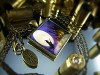 Wicked Witch & Haunted Moon Antique Bronze Glass Gothic Halloween Necklace