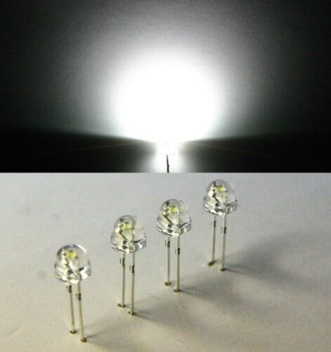 50 LED blanco 1200mcd White 120 ° 5mm cabeza troncocónica strawhat strawcap