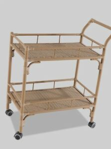 Rolling Wicker Style Patio Bar Cart