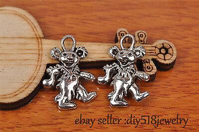20s 21*15mm charm rock group bear pendant DIY Jewelry Fit Bracelet Silver 7235