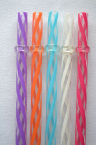 5 Replacement Straws Clear Swirly Colored Hard Acrylic Rings BPA Free+Brush #11
