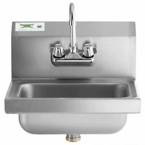 Hand-Wash-Sink-w-FAUCET-Commercial-Stainless-Steel-Wall-Mount-Kit-NSF-17-x-15