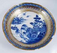 Antique 18thC Chinese Export  Blue & White Porcelain Saucer - Gilded