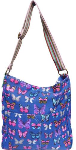 Butterfly Cross Body Messenger Slouch Canvas Fabric Shoulder Bag Womens School