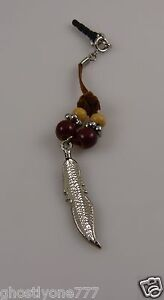 Southwest-style-feather-cell-phone-or-fits-Ipad-charm-ear-cap-dust-plug