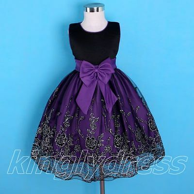 NEW Flower Girl Party Pageant Wedding Dress Black Purple Size 18M -13 Years Z171