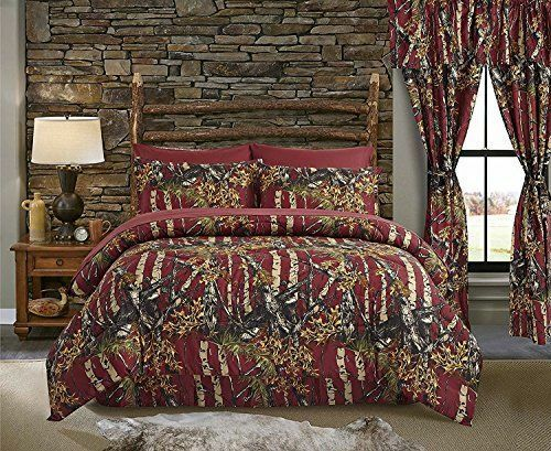 20 OFF 22 PC CAMO SET   BURGUNDY QUEEN COMFORTER SHEETS 3 CURTAIN CAMOUFLAGE