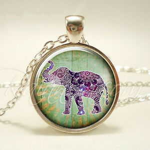 Vintage elephant cabochon silver jewelry glass dome pendant necklace image is loading vintage elephant cabochon silver jewelry glass dome pendant aloadofball Image collections