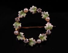Antique 14K Gold Victorian Enamel Diamond & Pearl Circular Wreath Brooch Pin