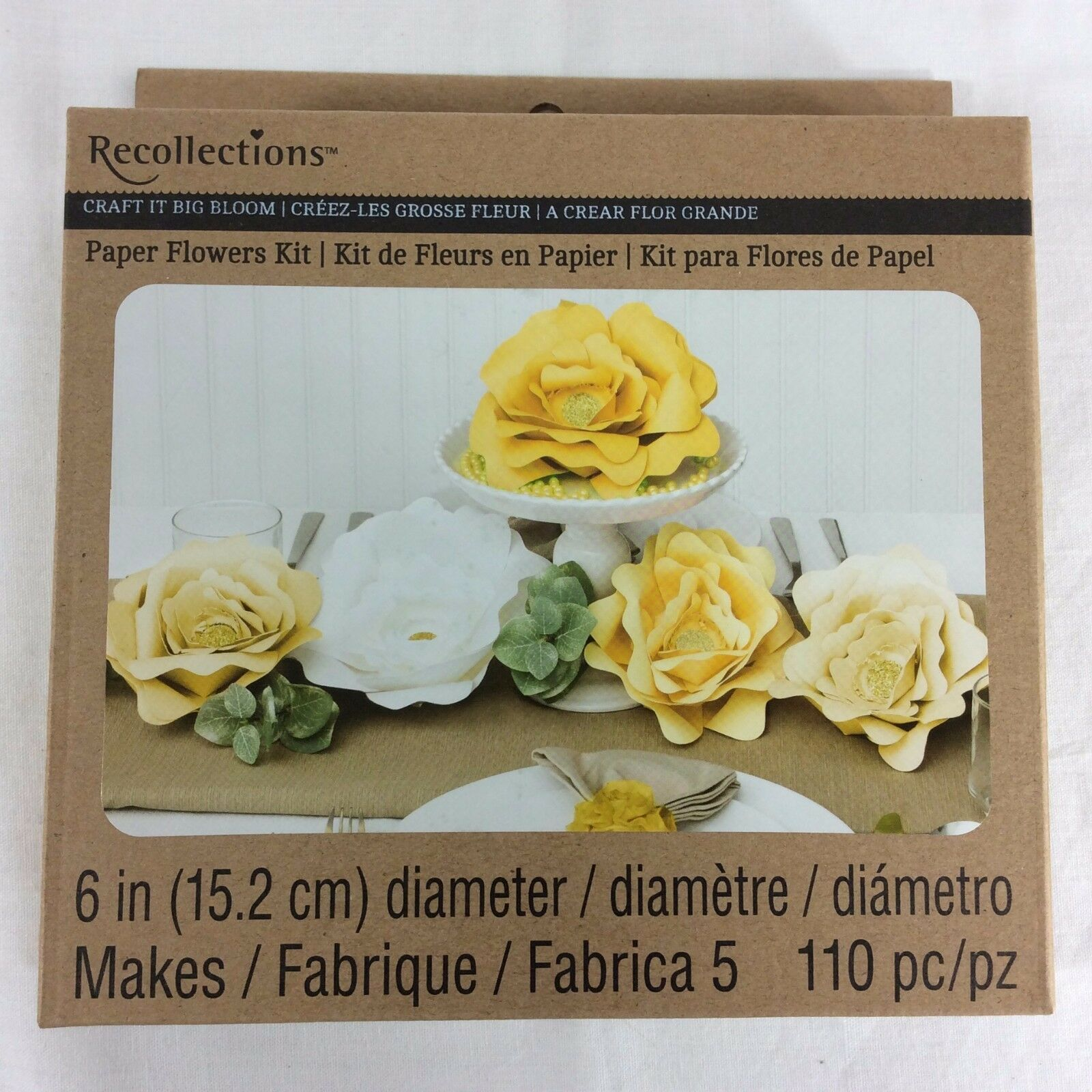 Recollections Craft It Big Bloom Party Wedding Pack Yellow 6 Paper