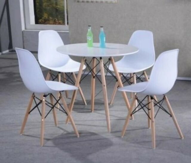 Tremendous Eiffel Retro Dining Table Chairs Set Solid Wood Legs Plastic Top Office Lounge Dailytribune Chair Design For Home Dailytribuneorg