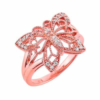 10k Rose Gold Filigree Butterfly 2.2mm Ring with 0.16ctw Round Diamonds