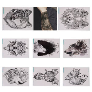 5f0ff04fd Image is loading Wolf-temporary-tattoo-stickers-waterproof-fake-hand-tattoos -
