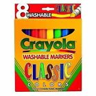 Crayola 7808 Classic Washable Water Based Markers 8 Colors Broad Line