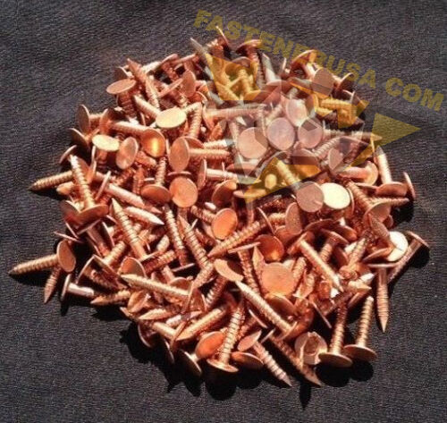 "approx. 225 pcs 3//4/"" Annular Ring Shank Copper Roofing Nails 11 gauge 3//4lb"