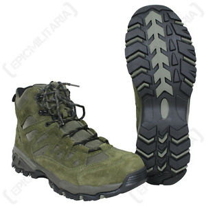Olive Green Military Squad Boots All Sizes Army Combat Style Mid Height Shoe Ebay