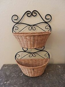 wicker and black metal wall hanging basket 2 baskets for mail artificial flower ebay. Black Bedroom Furniture Sets. Home Design Ideas