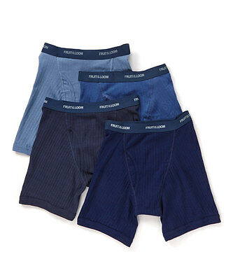 NEW FRUIT OF THE LOOM Men's 4-pack Boxer Briefs BLUES COLLECTION S, M, L, XL, 2X