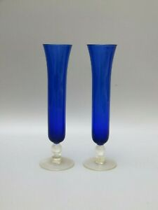 Cobalt-Blue-and-Clear-Glass-Vases-set-of-2