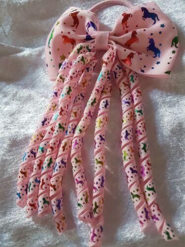 Pink Handmade Corker//Bow  Unicorn Bobble Holigraphic Unicorns Pattern Ribbon