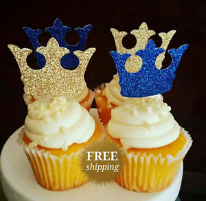 Image is loading Crown-Decorations-Cupcake-Toppers-Royal-Prince-Baby-Shower- c842bf7d6f6d