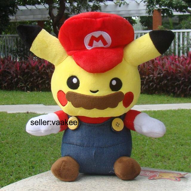 "Nintendo Pokemon Go Plush Toy Pikachu With Super Mario Suit 10"" Cuddly Soft Doll"