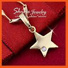 18K GOLD GF P65 DIAMOND pentagram LITTLE STAR SOLID NECKLACE PENDANT KIDS GIFT