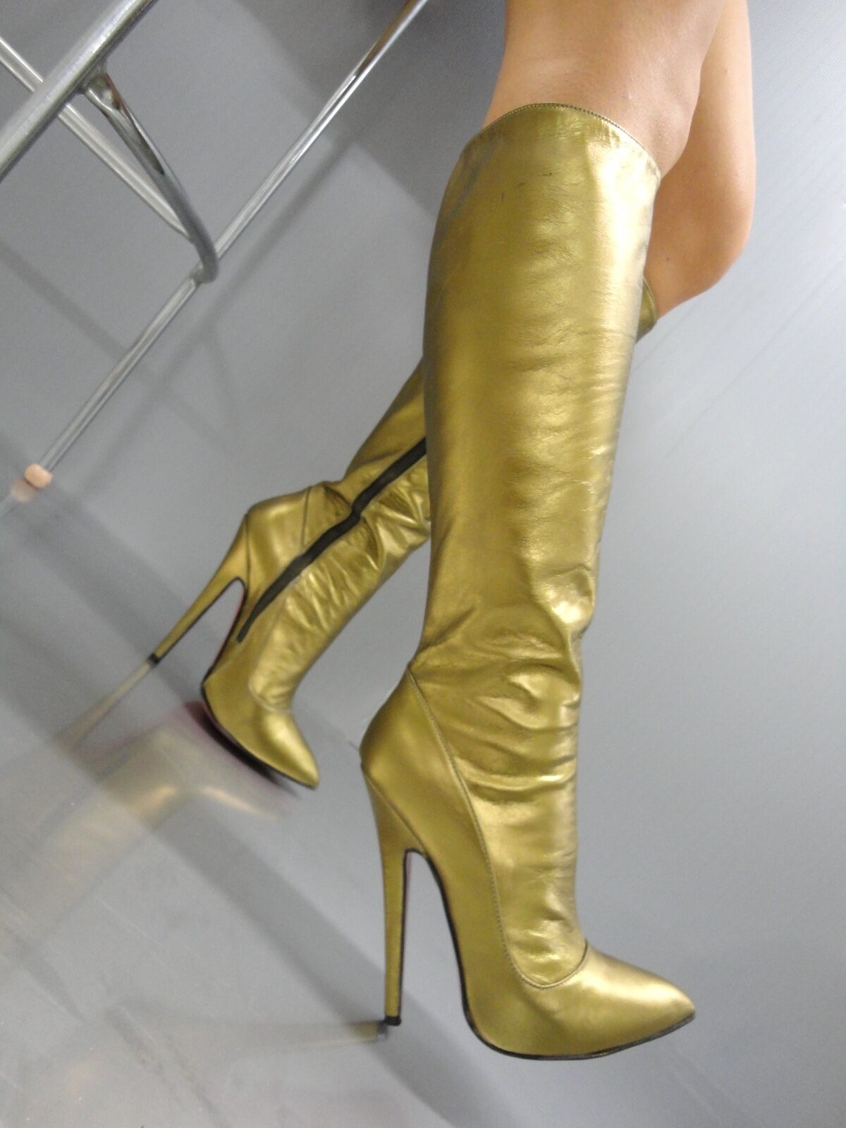 MORI MADE IN ITALY KNEE HIGHEST SEXY BOOTS STIEFEL STIVALI LEATHER GOLD ORO 45