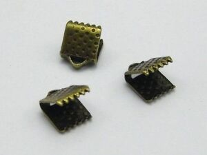200-Textured-Bronze-Tone-Ribbon-Necklace-Cord-End-Caps-Crimp-Beads-Tips-6X8mm
