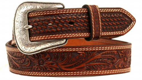 Nocona Western Mens Belt Leather Embossed Oval Concho N2427808