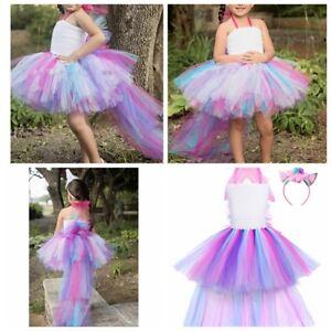 a9869be4efce0 Kids Girls Cartoon Costume Tiered Mesh Tutu Dress Party Princess ...
