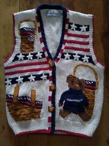 Vtg-90-039-s-BellePointe-Womens-Longaberger-Basket-Buttons-Bear-Knit-Sweater-Vest-XS
