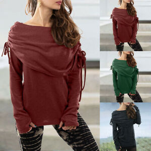 Women-Knit-Off-Shoulder-T-Shirt-Jumper-Tops-Casual-Bandage-Long-Sleeve-Blouse