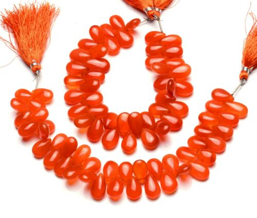 """Natural Gemstone Carnelian Smooth 14x9MM Approx Pear Shape Briolette Beads 9/"""""""