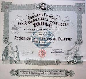 Compagnie Française Des Accumulateurs Électriques Iodac Action 100 Francs 1928 Kkqn4eo1-07221359-327259991